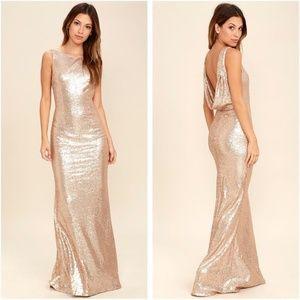 Lulu's Rose Gold Sequin Backless Formal Maxi Dress